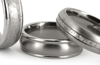 Examples of titanium engagement rings and wedding rings